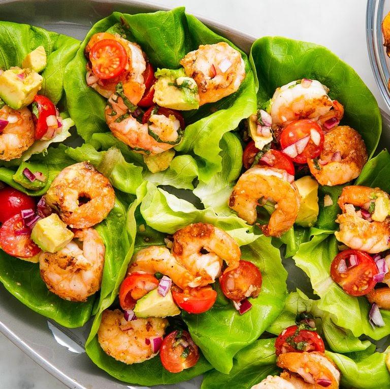 Basil avocado shrimp salad wraps