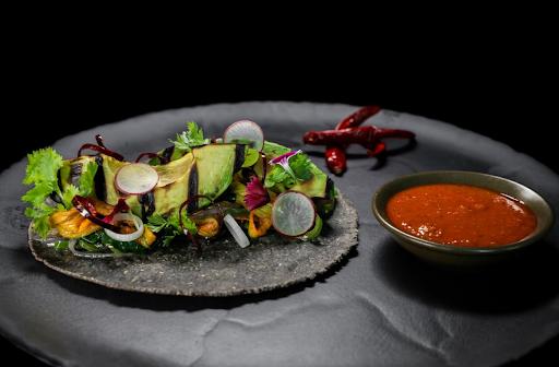 Roasted avocado taco