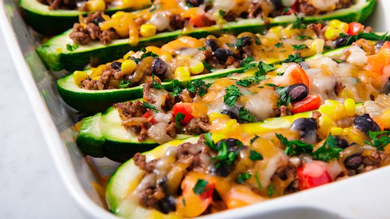 Zucchini burrito boats