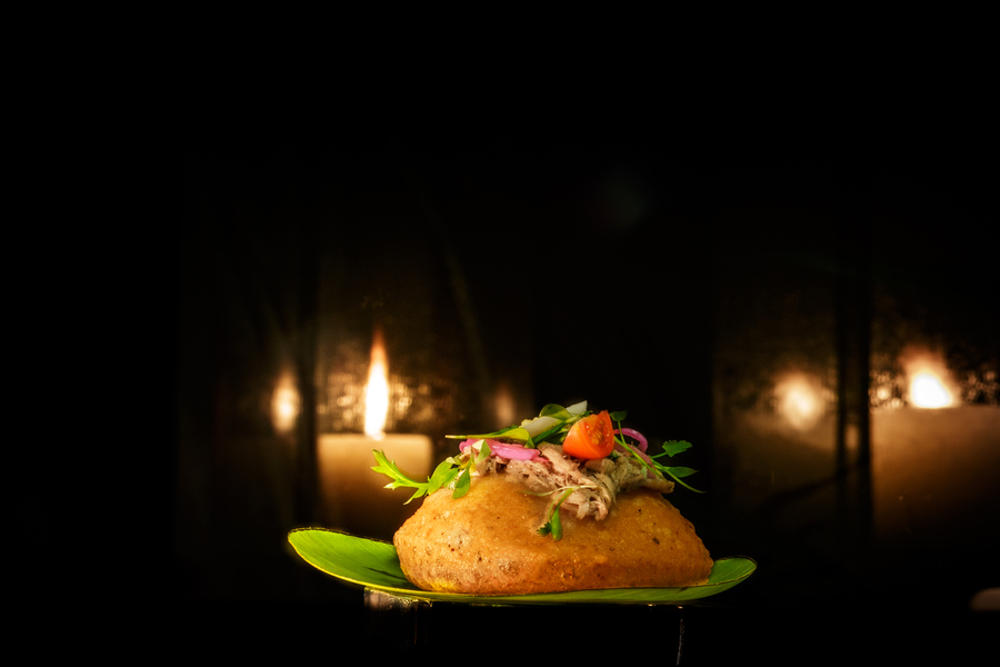 Chicken Salbute from Grand Velas Riviera Maya, traditional meal from Yucatan, Mexico