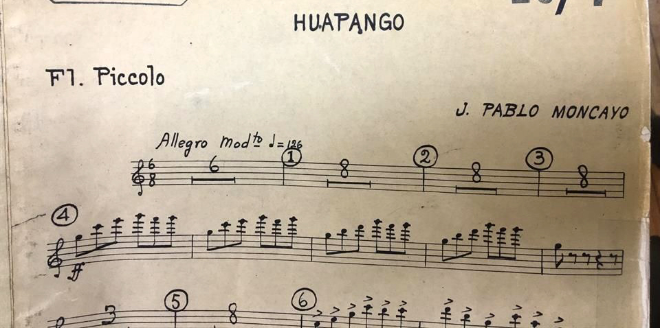 Music sheet fragment of Huapango de Moncayo Mexican music