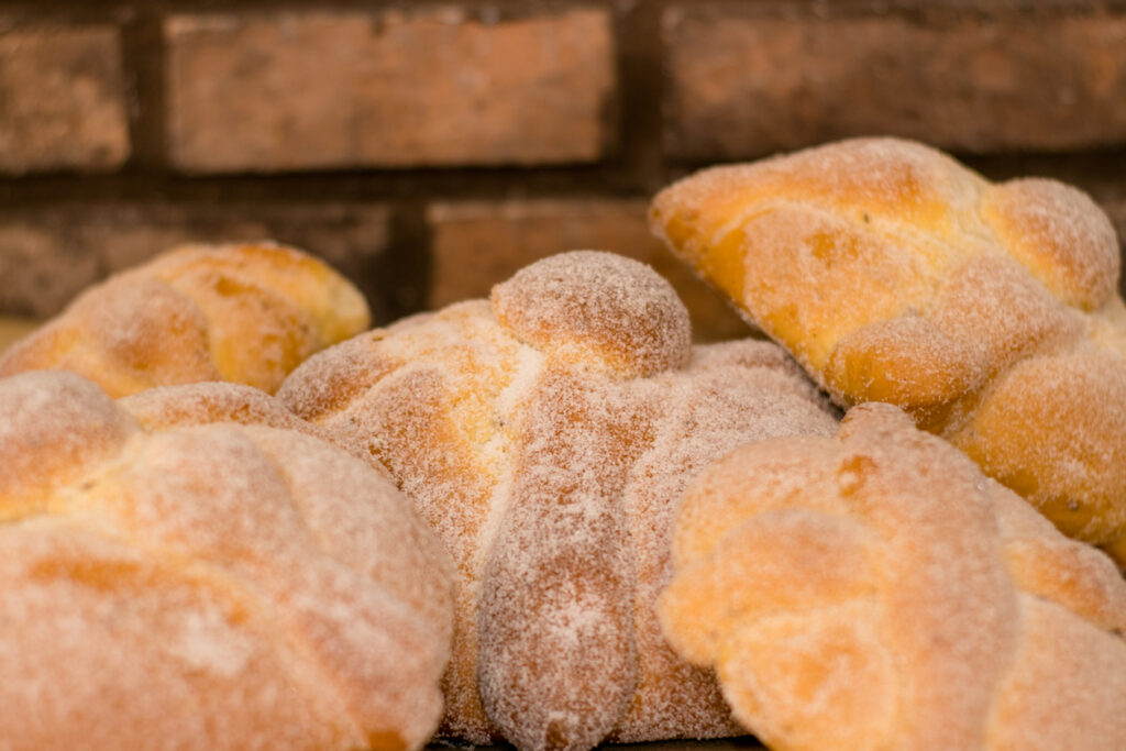 Traditional Mexican pan de muerto or Day of the Dead bread