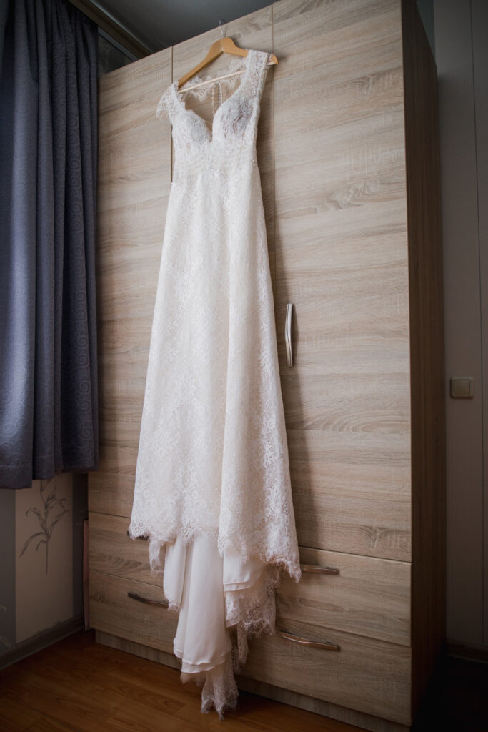 wedding dress steamed and clean